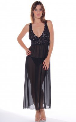 Lace Top Chiffon Gown