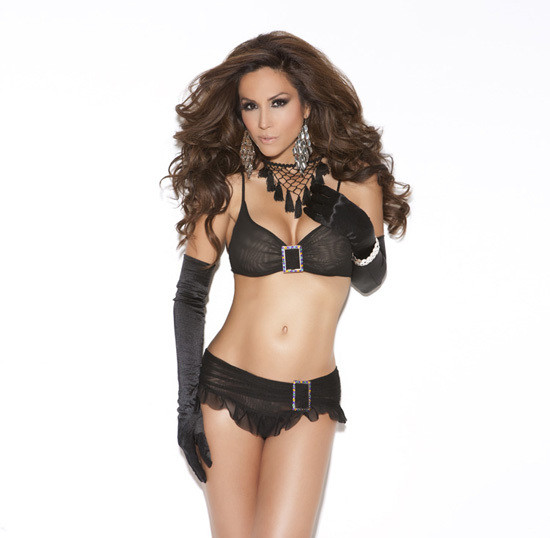 Mesh Skirt Set with Buckle