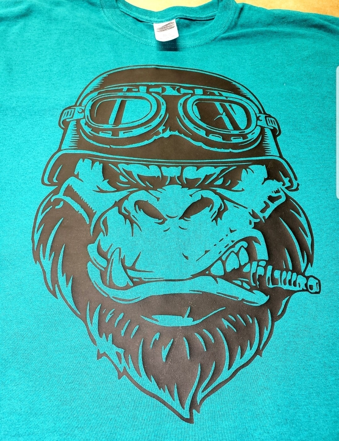 Gorilla shirt with spark plug in mouth