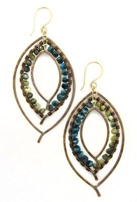 Triple Leaf Earring Wrapped - Bronze