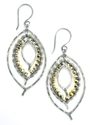 Triple Leaf Earring Wrapped SMALL- OxSilver