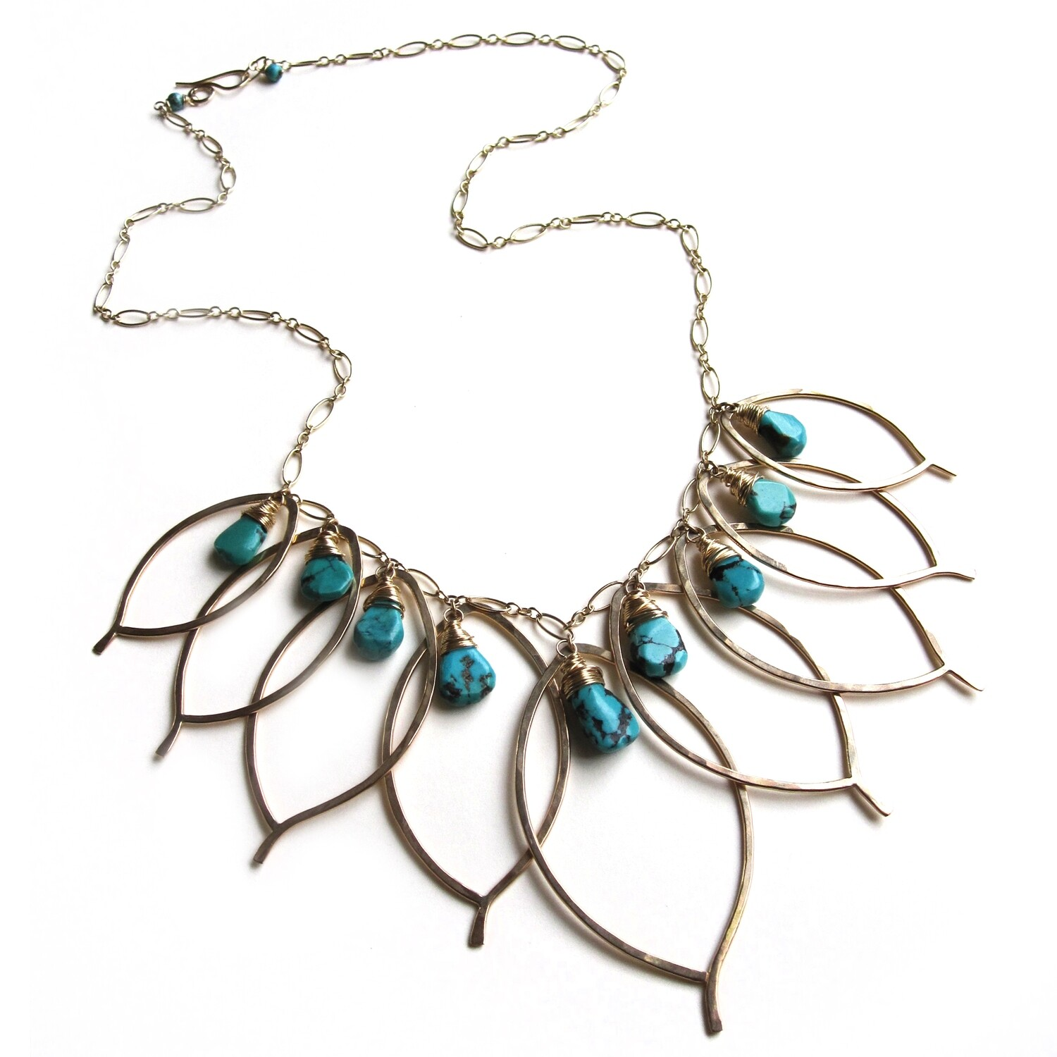 Leaf Cluster Necklace with Stones- 14k Gold Fill