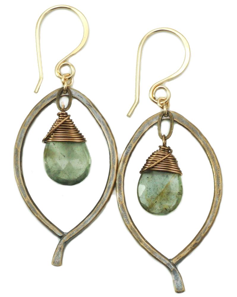 Leaf Drop Earrings - Bronze