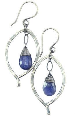 Leaf Drop Earrings - Silver