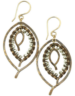 Triple Leaf Earring Wrapped SMALL- Bronze