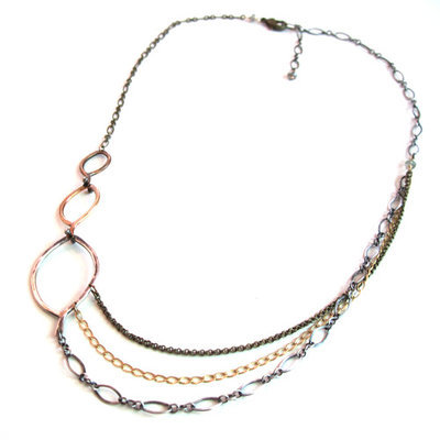 Three Leaf Mix Chain Necklace