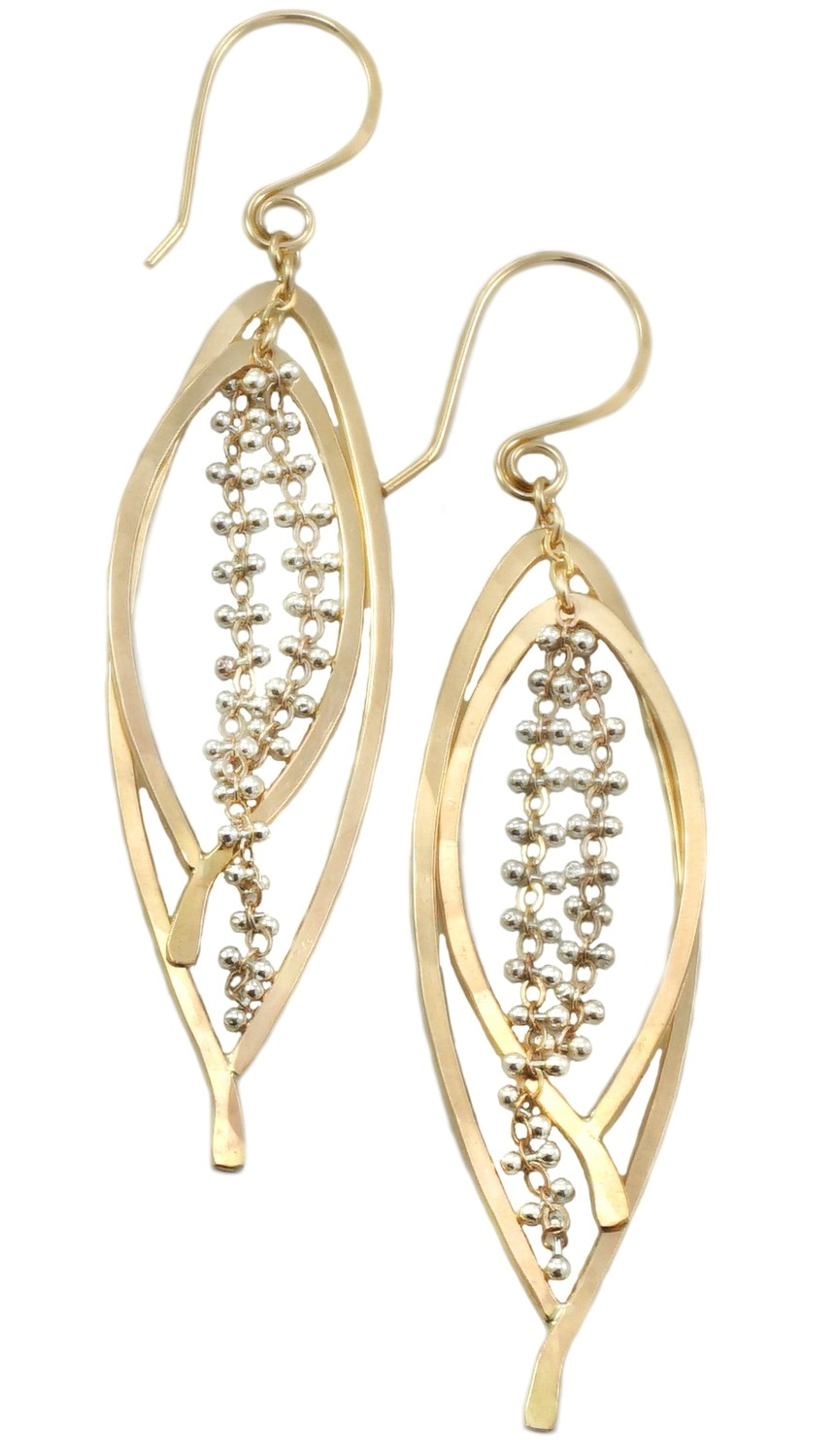 Double Bay Leaf Caviar Earring