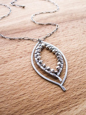Double Leaf Wrapped Necklace