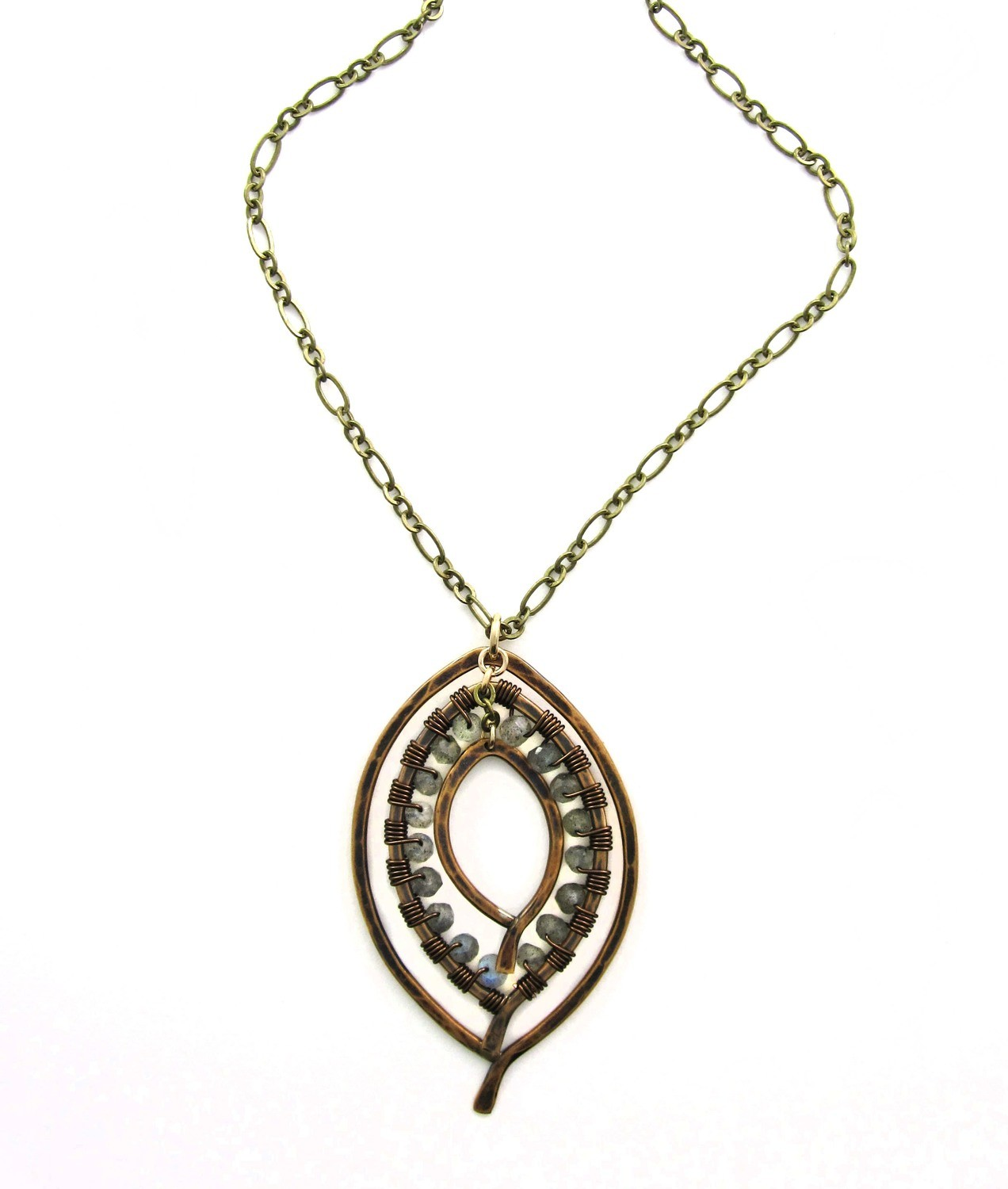 Triple Leaf Wrapped Necklace SM