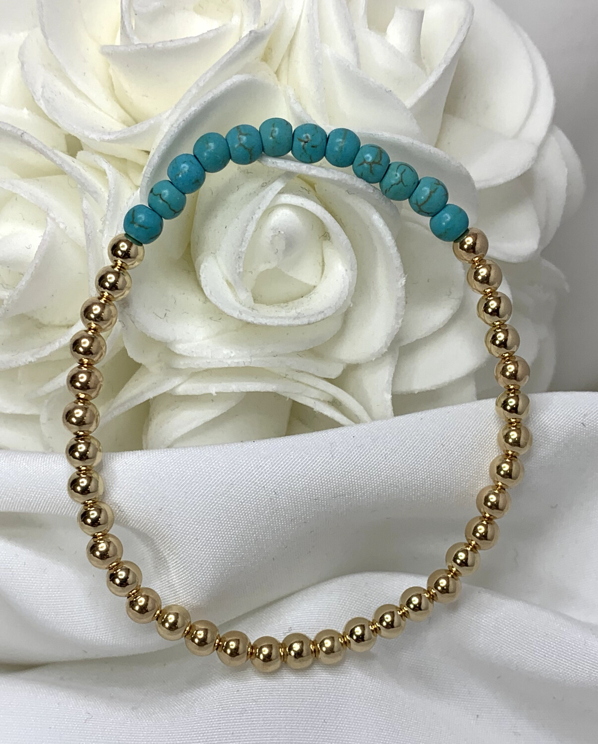 Turquoise Gold Beaded Bracelet