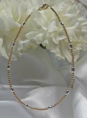 14k Yellow Gold Sterling Silver Bracelet or Ankle Bracelet