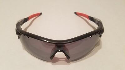 Sport Style Sunglasses :: Black Frames w/ Orange Nose and Earpiece