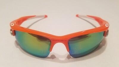 Sport Style Sunglasses :: Orange Frames w/ White Earpiece & Removable Lenses
