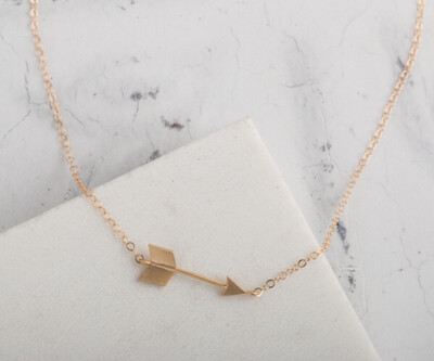 Claire Hill Arrow Gold Charm Necklace 16""