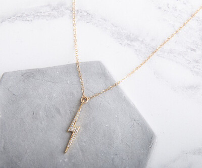 Claire Hill Gold & Cubic Zirconia Large Lightning Bolt Necklace 18""