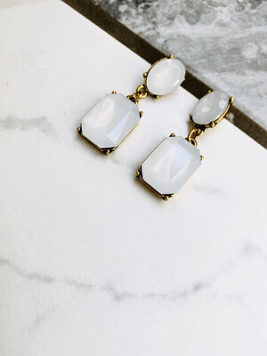 Vintage Style Crystal Rhinestone Earrings, Square Opal Dangle Drop - Milky White