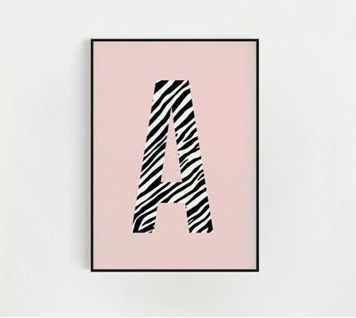 Zebra Initial Print - Pink