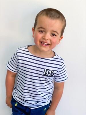 Stripe Kids Initial T Shirts - Blue/white