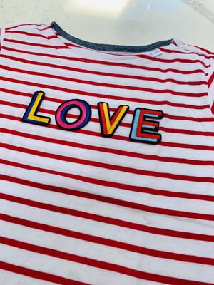 Stripe Kids LOVE T Shirt - Red-white
