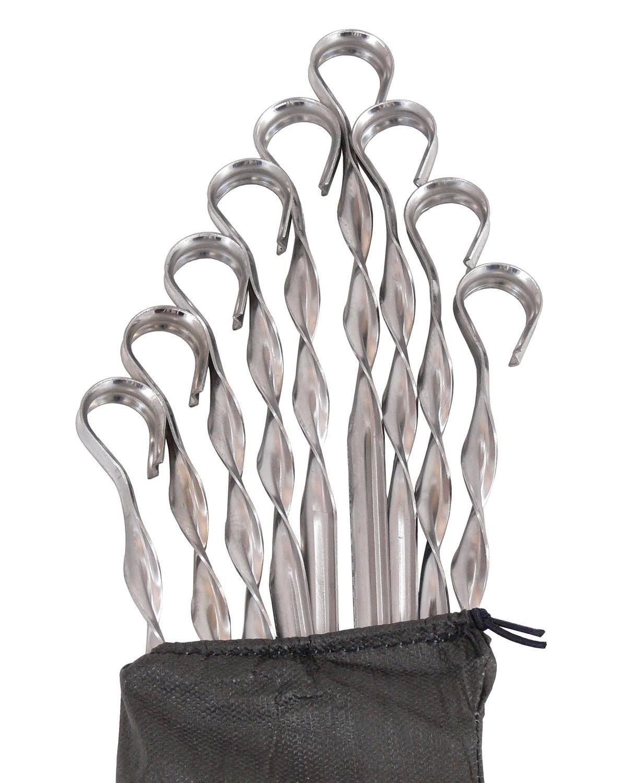 Комплект шампуров из нержавеющей стали 57 см, 13 штук