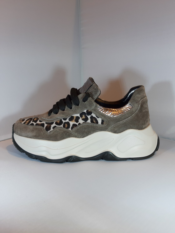 Laura Bellariva | Sneaker taupe met leopard