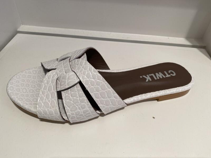 Catwalk / slipper wit coco leder