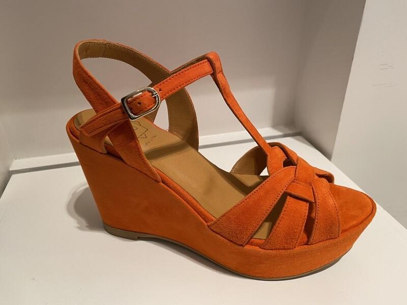 FRU / sleehak sandaal oranje daim