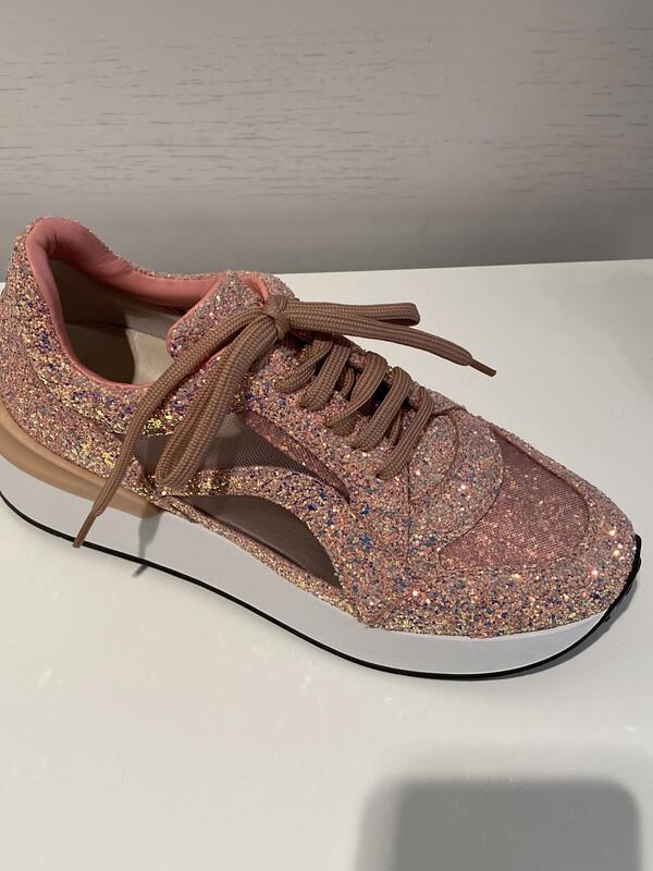 181 / sneaker met glitters roze
