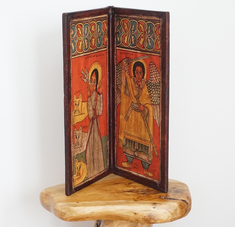 Ethiopian Vintage Christian Coptic Icon| Religious Art Orthodox| Handmade Made Of Wood Leather