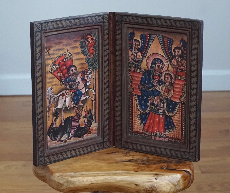 Large Ethiopian Coptic Orthodox Icon| Saint George| The Virgin Mary| Christianity