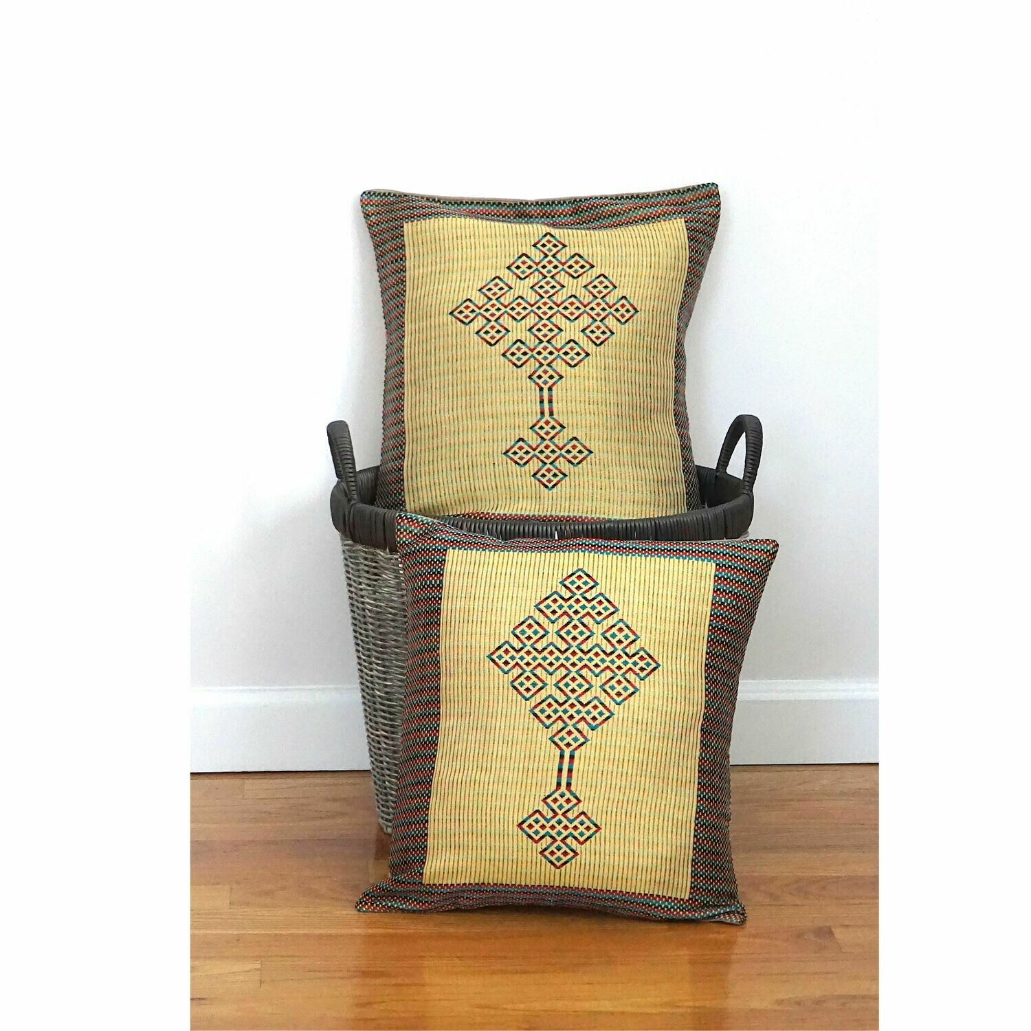 (1) Accent Throw Pillow For Sofa Bed Coptic Cross Pattern Made Cotton, Rayon, Linen