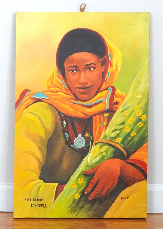 African Painting| Ethiopian Fine Art| Acrylic On Canvas| Enkutatash Flower Woman