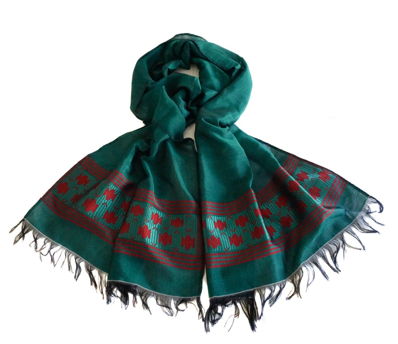 Women Oversized Emerald Green Scarf, Wrap Shawl  Hand-Woven 80% Cotton 20% Rayon