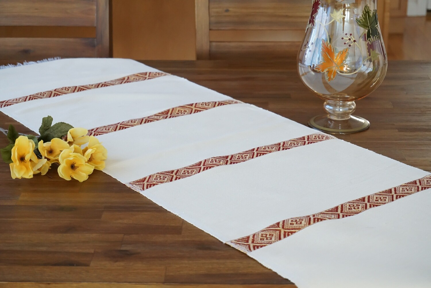 Decorative Handmade Table Runner  Red On Ivory Cream  Blend Of Cotton Acrylic