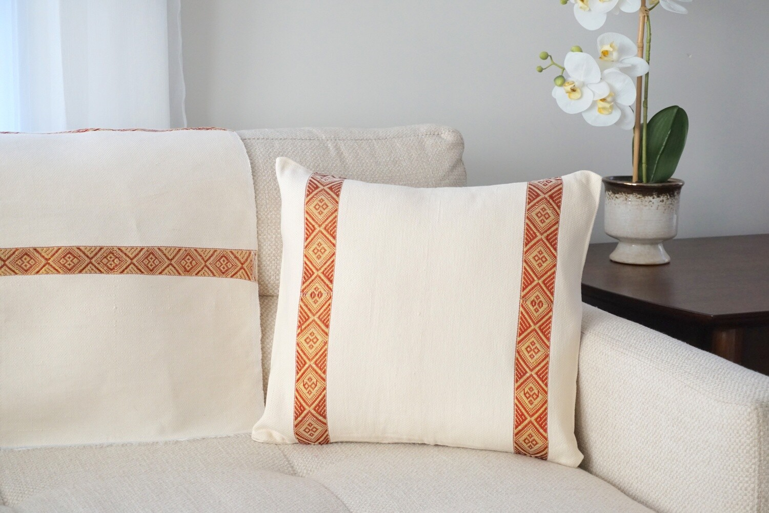 Accent Sofa Throw Pillow| Red On Cream| Handwoven| Blend Of Cotton Acrylic