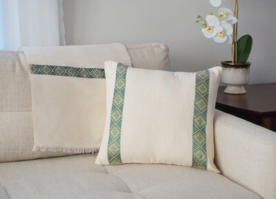 Accent Sofa Throw Pillow| Emerald Green On Cream| Handwoven| Blend Of Cotton Acrylic