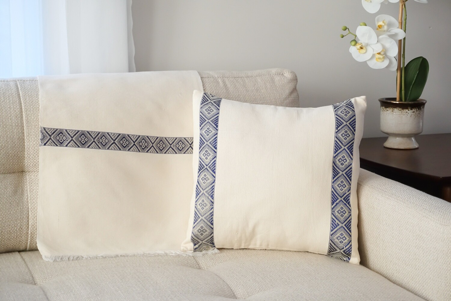 Accent Sofa Throw Pillow| Nave Blue On Cream| Handwoven| Blend Of Cotton Acrylic