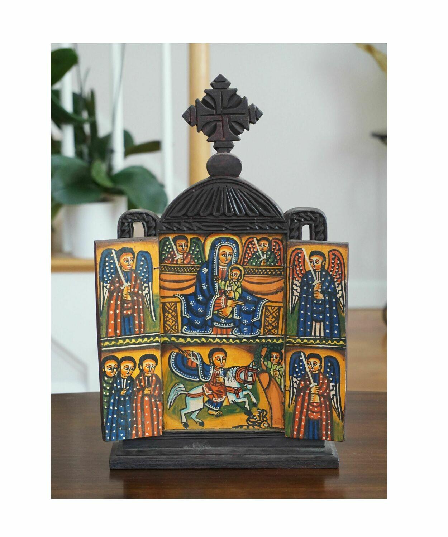 Triptych Wooden Ethiopian Icon - Saint George - The Virgin Mary - Archangel Michael