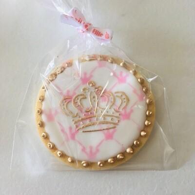 Lot de 10 biscuits couronne (bleu ou rose)