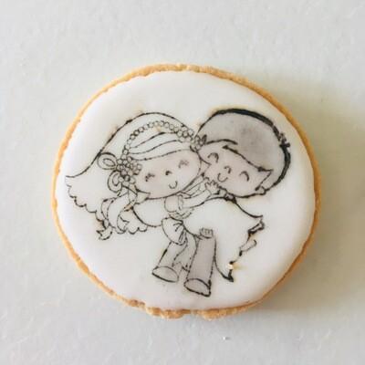 Lot de 10 biscuit thème mariage format café