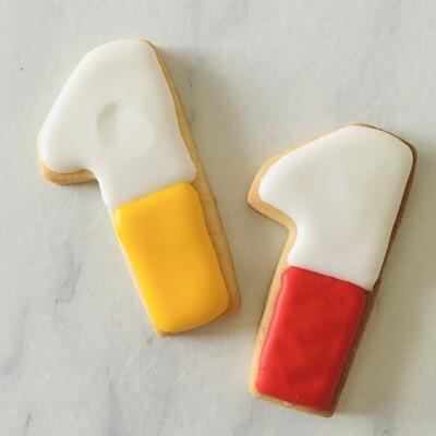 Lot de 10 biscuits chiffre bi-color