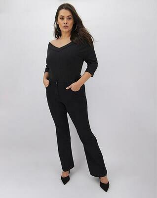 Platėjančios juodos džinsinės kelnės