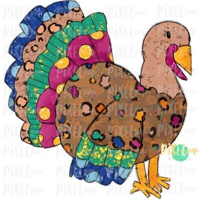 Splatter Turkey Watercolor Sublimation PNG | Hand Drawn Sublimation Design | Sublimation PNG | Digital Download | Printable Artwork | Art