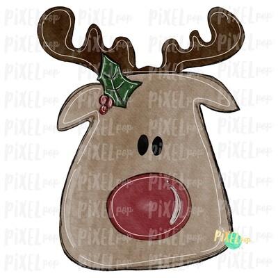 Reindeer Watercolor Sublimation Design PNG | Reindeer Art | Hand Drawn Design | Sublimation PNG | Digital Download | Printable Artwork | Art