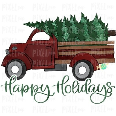 Christmas Tree Farm Truck Red Happy Holidays Sublimation PNG | Hand Drawn Art | Sublimation PNG | Digital Download | Printable Artwork | A