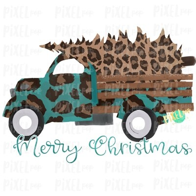 Christmas Truck Merry Christmas Leopard Sublimation PNG | Hand Drawn Design | Sublimation PNG | Digital Download | Printable Artwork | Art