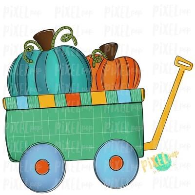 Pumpkins Wagon Cart Teal Pumpkin Patch Sublimation   Hand Drawn Sublimation Design   Sublimation PNG   Digital Download   Printable Artwork   Art