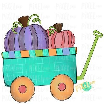 Pumpkins Wagon Cart Purple Pumpkin Patch Sublimation   Hand Drawn Sublimation Design   Sublimation PNG   Digital Download   Printable Artwork   Art