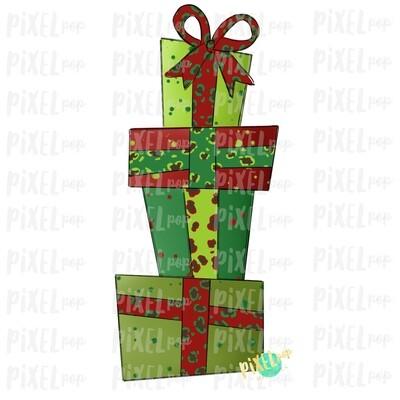 Christmas Presents Stacked Leopard Ribbon Sublimation PNG | Hand Drawn Design | Sublimation PNG | Digital Download | Printable Artwork | Art