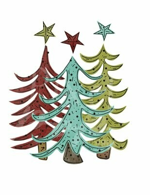 Funky Whimsical Christmas Trees Trio Watercolor Sublimation PNG | Hand Drawn Design | Sublimation PNG | Digital Download | Printable Artwork | Art